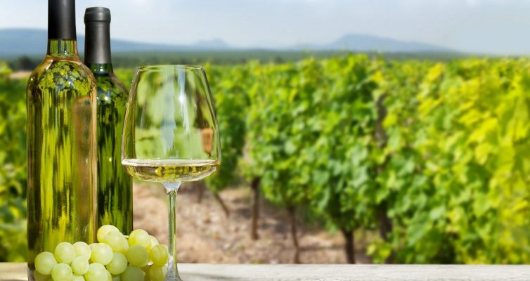 Colorful grapes in basket, white wine
